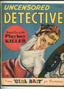 UNCENSORED DETECTIVE-DEC 1947-HILLMAN-PULP CRIME-MURDER-RACKETEERS-vg minus
