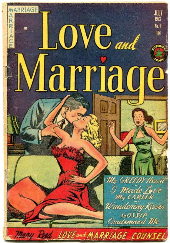 Love and Marriage #9 1953- Spicy cover art- Golden Age Romance G/VG