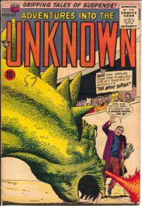 Adventures Into The Unknown #89 1957-ACG-fire breathing monster-Ogden Whitney-VG
