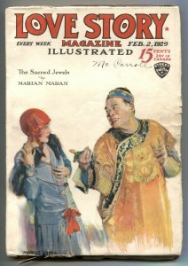 Love Story Pulp February 2 1929- Sacred Jewels- Asian menace cover