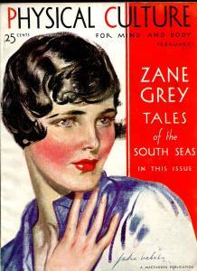 Physical Culture 2/1931-Zanr Grey-pulp thrills-Good Girl Art cover-FR/G
