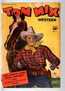 TOM MIX COMICS #3-1948-B WESTERN MOVIE COMIC BOOK-PHOTO COVER-FAWCETT PUBS  G-