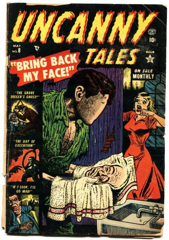 UNCANNY TALES #8-1953-JOE MANEELY-EXECUTION-FACE REMOVAL-WILD