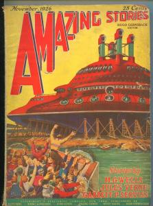 AMAZING STORIES NOVEMBER 1926-H.G.WELLS-MURRAY LEINSTER-G/VG