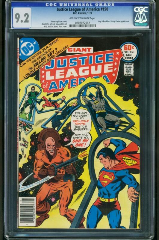 JUSTICE LEAGUE OF AMERICA #150-CGC 9.2 OW/W-NM-jimmy carter issue 0207072012