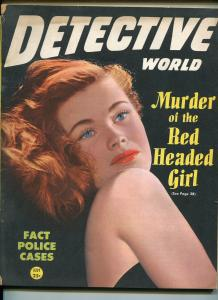 DETECTIVE WORLD 7/1946-SPICY COVER PHOTO-WEIRD CRIME-SAUCY PULP THRILLS-vg