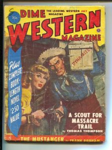 Dime Western-7/1951-Popular-Norman saunders cover-pulp thrills-VG-