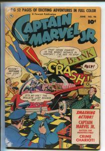 CAPTAIN MARVEL JR. #98 1951-FAWCETT-INDESTRUCTIBLE CRIME CHARIOT-good minus
