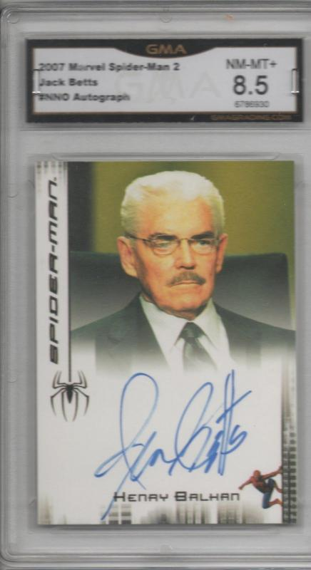 Jack Betts Spiderman 1 Autographed Card as Henry Balkan Graded 8.5