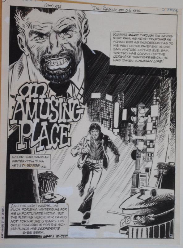 JOSE FERRER original art,MANY GHOSTS of DR GRAVES #56 pg 1, 10x14, 1975, Splash
