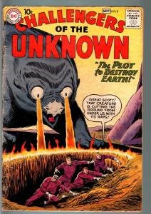 CHALLENGERS OF THE UNKNOWN #9-MONSTER COVER-ALIENS-DC-SCI FI SERIES-1959-G + G+