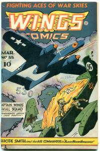 Wings Comics #55 1945- Fiction House Golden Age- Suicide Smith G/VG