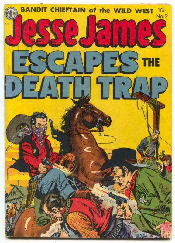 Jesse James #9 1952- Escapes the Death Trap- Hanging cover F/VF