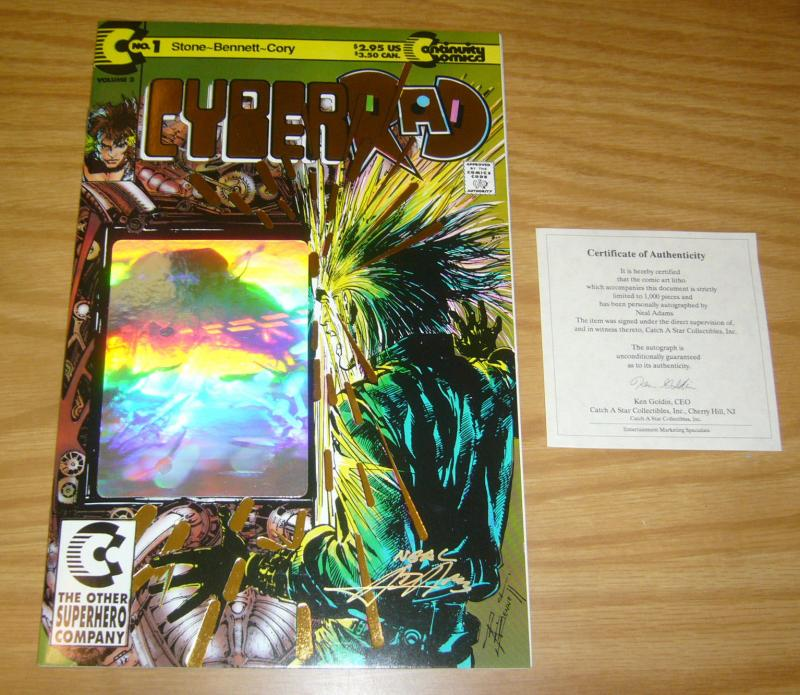 CyberRAD #1 VF/NM gold logo variant signed by neal adams w/ COA limited to 1,000