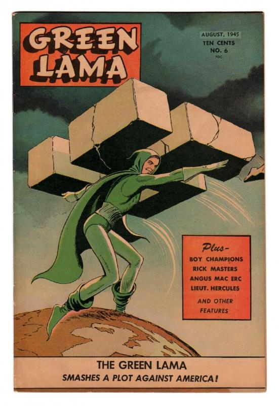 GREEN LAMA #6 comic book-1945-SPARK-WWII-MAC RAYBOY-WWII cover