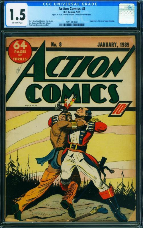 ACTION COMICS #8-CGC 1.5-SUPERMAN-JANUARY 1939-FRED GUARDINEER CVR-0291013001