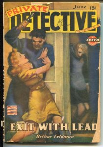 Private Detective 6/1943-gunan beats woman on cover-hardboiled pulp crime-G