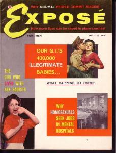 EXPOSE FOR MEN '60 MAY NAZI SHE-MONSTER TEEN CRIME RARE FN