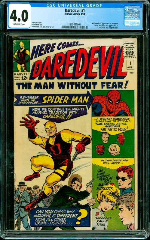 Daredevil #1 CGC Graded 4.0 Origin and 1st appearance of Daredevil (Matt Murd...