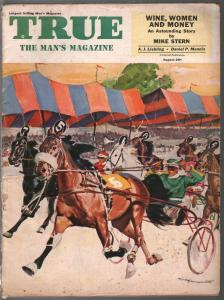 True 8/1953-Fawcett-horse race cover-wrestling expose-pulp thrills-WWII-VG