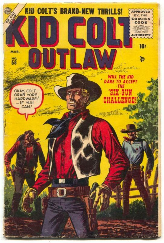 Kid Colt Outlaw #58 1956- John Severin cover- Atlas Western VG-