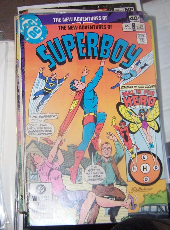 NEW ADVENTURES OF SUPERBOY # 28 DC  april  1982  h for hero+ma and pa kent