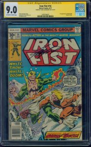 Iron Fist #14 CGC 9.0 SS OW/W Signed by Chris Claremont