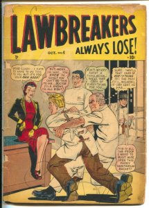 Lawbreakers Always Lose #4 1948-straight jacket cover-weird menace-Pinball ma...