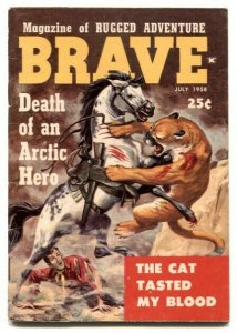 Brave #4 July 1958- mini magazine- mountain lion attack cover