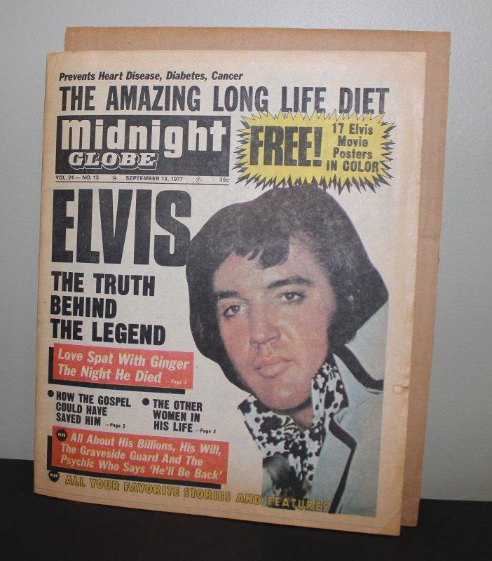 Elvis Presley Midnight Globe Paper September 13, 1977