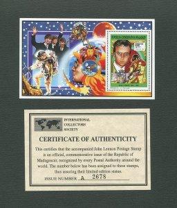 John Lennon Commemorative Madagascar Stamp Sheet  1995