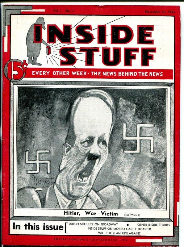 Inside Stuff #1 11/16/1934-pre WWII-Hitler, War Victim-KKK-Mozert art-VF