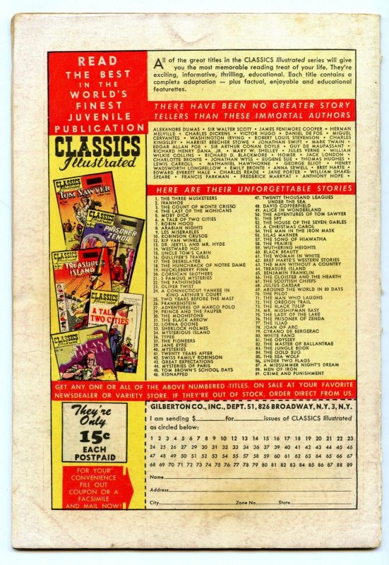 Classics Illustrated 89 (Original) Nov 1951 VG- (3.5)