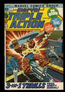 Marvel Triple Action #1 VF+ 8.5 Doctor Doom Silver Surfer Fantastic Four!