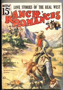 RANCH ROMANCES 2nd  FEB 1936-Warner PUBS-WESTERN PULP FICTION-RARE