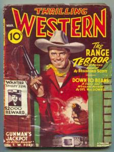 Thrilling Western Pulp March 1946- Range Terror VG-