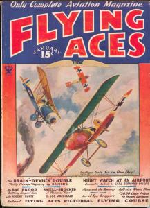 Flying Aces 1/1934-Philp Strange-hero pulp-Donald E Keyhoe-VG