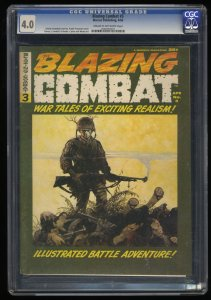 Blazing Combat #3 CGC VG 4.0 Cream To Off White Frank Frazetta Cover!