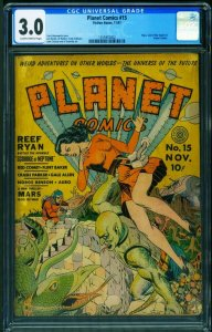 Planet #15 CGC 3.0 1941--Fiction House-Good Girl art-Golden-Age 1355952002