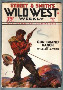 WILD WEST WEEKLY-5/21/1932-PULP-GUN BRAND RANCH VF-