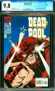 Deadpool #2 CGC Graded 9.8 Juggernaut and Siryn appearance.