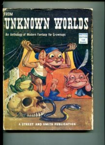 FROM UNKNOWN WORLDS-1952-BRITISH-CARTIER COVER-BLOCH-STURGEON-KUTTNER-vg