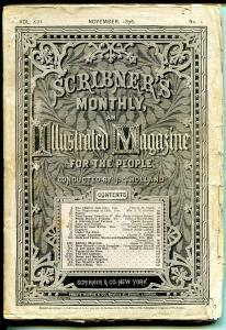 Scribner's Monthly  Magazine-11/1876-historic-pulp thrills-post Civil War-VG