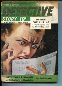 DETECTIVE STORY-02/1940-ARTHUR LEO ZAGAT-HARD BOILED-PULP-CONTRACTS INC-vg minus