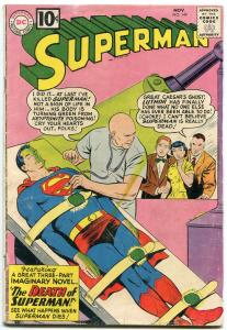 Superman #149 1961- Death of Superman- last 10 cent issue VG-