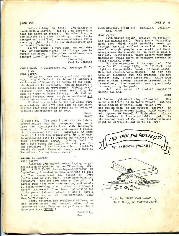 Lore #9 1967-Jerry Page-Tarzan-pre Comic Book Price Guide-early fanzine-VG