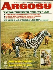 ARGOSY WEEKLY 1966 JAN-LION ATTACKS FAKE ZEBRA COVER FN