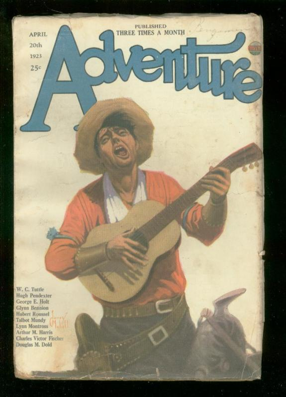 ADVENTURE PULP-APR 20 1923-TALBOT MUNDY-WC  TUTTLE-RARE VG