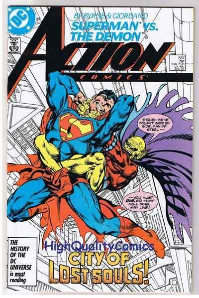 ACTION COMICS #587, NM, Superman vs Demon, John Byrne, 1938, CityScapes