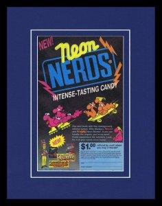 1993 Willy Wonka Neon Nerds Framed 11x14 ORIGINAL Vintage Advertisement